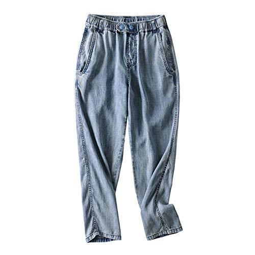TZNZBGY Pantalones elásticos de Cintura Alta con Botones Suaves para Mujer, Pantalones Holgados de Estilo Coreano para Mujer Zhong Shilan 20522 M