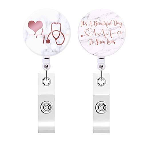 Badge Reel, Retractable ID Card Badge Holder with Alligator Clip, Name Nurse Decorative Badge Reel Clip on Card Holders (2 Pack / Red Heart)