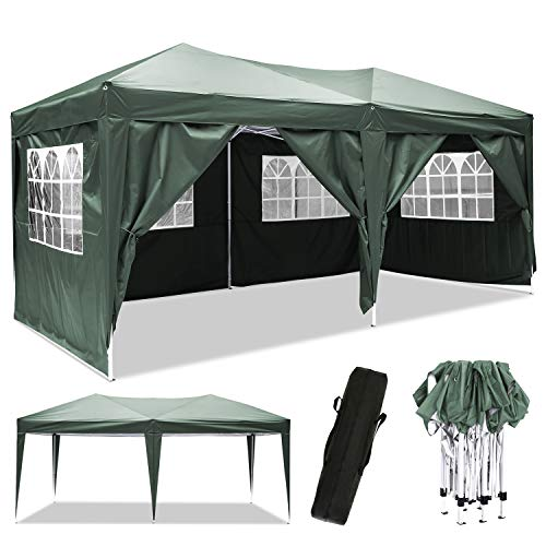 Laiozyen 3 x 6 m Waterproof Pop Up Gazebo Marquee Water Resistant Tent with Side Panels & Storage Bag for Outdoor Wedding Garden Party (3 x 6 m, Green)