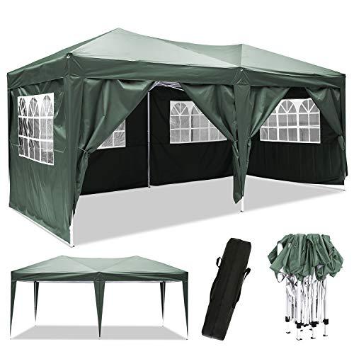 Bunao Pavillon 3mx6m, Wasserdicht Faltbare Pavillon Zelt Faltpavillon Festzelt mit 4 Seitenteilen für Garten/Party/Hochzeit/Picknick/Markt (Grün 1)