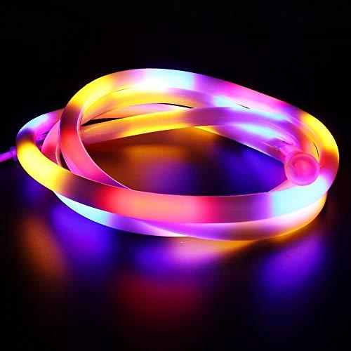 LMIAOM 220 Luces de neón de la lámpara 2835 RGB LED 120leds impermeables/m Cinta flexible Cinta de la muestra de neón Hada iluminación LED luz de la decoración Nueva barra de luz LED