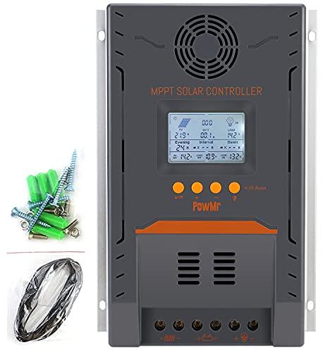 PowMr MPPT Solar Charge Controller 100 amp, 100A Solar Controller MPPT 12V/ 24V DC Auto Max 96V 2600W Input fit for 12V/24V AGM Gel Sealed Flooded Batteries