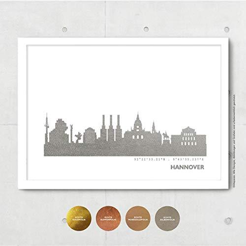 Hannover Skyline Bild Wandeko, Personalisierte Geschenkidee für Besondere Anlässe in S/W Rose Gold Silber Kupfer - Pesönlicher Text & Rahmen A4/A3