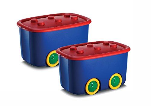 2er Set Spielzeugkiste Schatztruhe Aufbewahrungskiste - Funny - 46 Liter