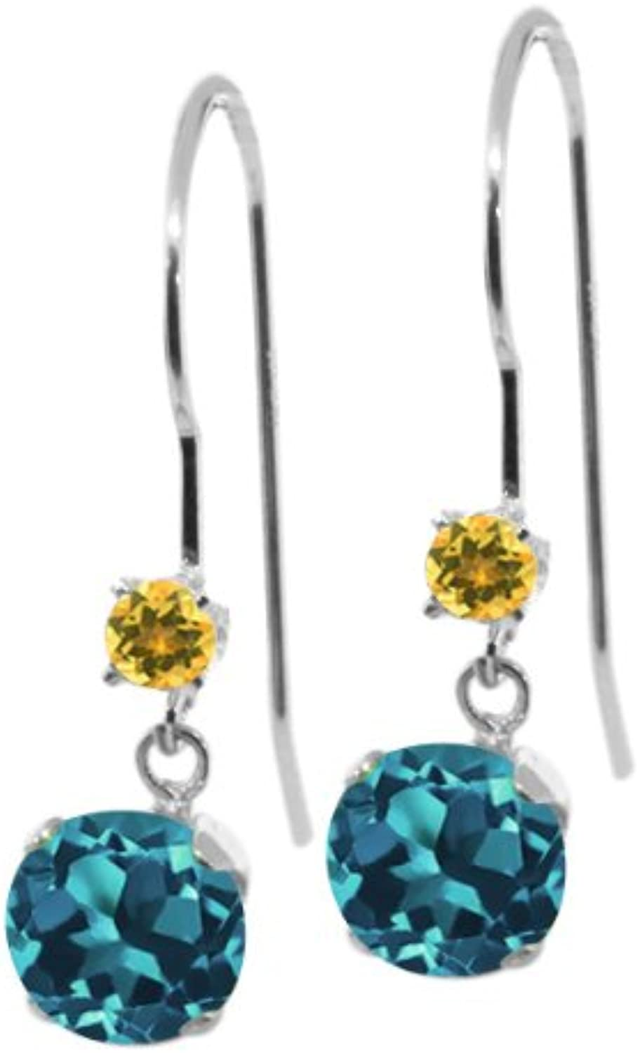 1.24 Ct Round London bluee Topaz Yellow Simulated Citrine 14K White gold Earrings