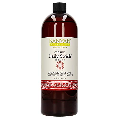 Banyan Botanicals Daily Swish Cinnamon – Organic Ayurvedic Oil Pulling Mouthwash with Coconut Oil – for Oral Health, Detoxification, Healthy Teeth, & Gums* – 34oz – Non GMO Sustainably Sourced Vegan