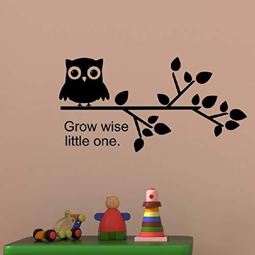 Wandtattoo Vinyl Aufkleber Eule Baum Zweig Kindergarten Zitieren Wachsen Wise Little Kid Junge Mädchen Kind Zimmer Spielzimmer Dekoration 57X29CM