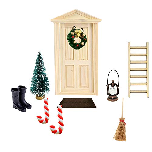 Apofly, Deko dänische Wichtel Tür Wichteltür, 1:12, DIY Weihnachten Puppenhaus-Set, Weihnachtskranz, Weihnachtsbaum, Miniatur-Puppenhausmöbel und Zubehör Stück, 16, 10