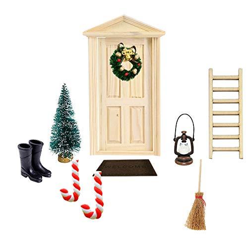 Hilai, decoración de gnomo danés, Puerta de Duendes, 1:12, DIY, Juego, Corona, árbol de Navidad, Muebles de casa de muñecas en Miniatura y Accesorios, 10 Unidades, 16