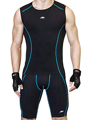 sunseen Men's Compression Suit Cool Dry Fit Running Tights Sports Leggings Baselayer Pants Gym Workout Exercise Shirts Shorts Blue