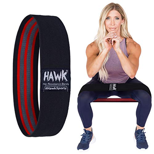 Hawk Sports Resistance Bands for Women & Men Fabric Exercise Bands/Booty Bands Hip Excersize Glute Squat Butt and Legs Workout Bands/Loops Fitness Resistant Band (Black)