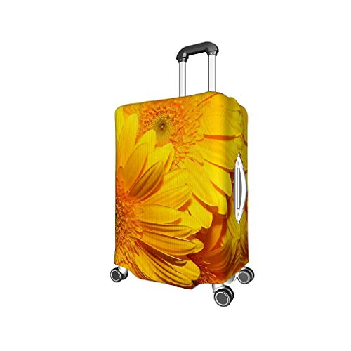 Sunflower, Lemon, Orange 3D Digital Printing Various Types Travel Luggage Protector Suitcase Cover Elasticity 18/20/24/28/32 Inch for Tour Sunflower White s (18-21 inch)