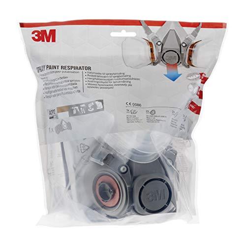3M Mehrweg-Halbmaske 6002C – Halbmaske mit Wechselfiltern gegen organische Gase, Dämpfe und Partikel – Für Farbspritz- und Maschinenschleifarbeiten - 6