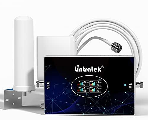 Lintratek Amplificatore di segnale per telefono cellulare 4 quattro banda B7 900,1800,2100,2600 ripetitore GSM 2G 3G 4G 70dB Ripetitore di segnale di cellulare