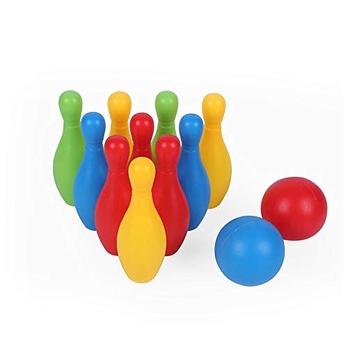 Juego de bolos de plástico para niños, juego de bolos divertidos, juegos familiares, fiestas y cuencos, juguetes educativos, regalos de Pascua con 10 mini pines y 2 bolas, para niños y niñas, niños de 3 a 4 5 6 años