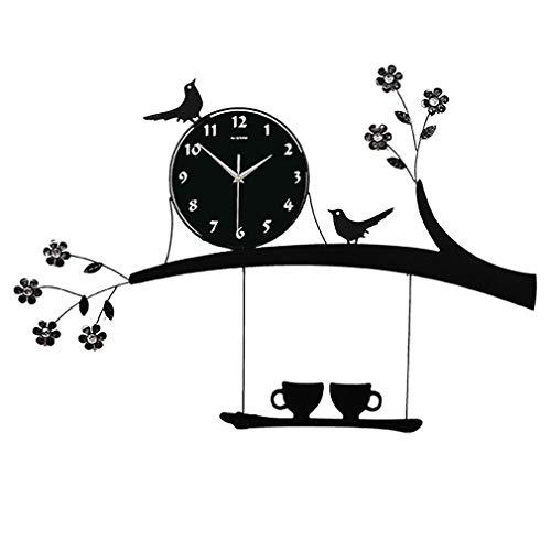 L Y y Creativa Personalidad Salón Reloj de Pared Mode Jardín Reloj de Cuarzo IKEA Mute Casa pájaro Reloj, Ein, 20 Pulgadas (50,8 cm)