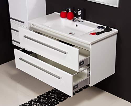 Quentis Badmöbel Serena 100, Keramikwaschtisch mit Unterschrank, weiß glänzend, 2 Schubladen, Softeinzug, Waschbeckenunterschrank montiert