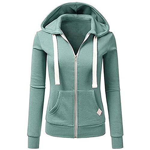Sweat-Shirt décontracté Femme Fille à Manches Longues Hoodies Pullover à Capuche zippé Vestes pour Femmes avec Poche Sweats à Capuche (M, Bleu)