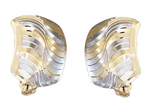 Pendientes de aro anchos de oro 585 bicolor, pendientes de aro de oro de 14 quilates