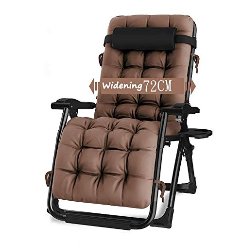 Terrassenstühle Liegestühle Liegestühle Schwerelosigkeit Patio Liegestuhl Liegender Gartenstuhl Outdoor Klappbarer Tragbarer Schaukelstuhl Unterstützt 200 kg Liegestuhl (Color : with Brown Cushions)