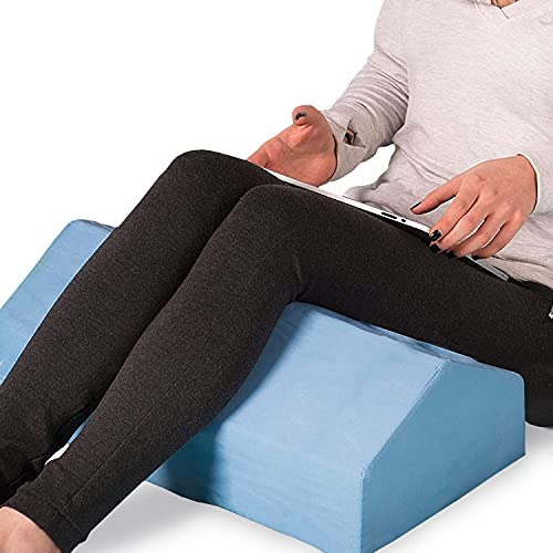 DMI Leg Elevation Bolster Pillow for Ankle and Knee Support, Leg Elevation, Back, Lumbar and Neck Pain Relief, 30 Degree Angle, 28 x 10 x 7 inches, Blue