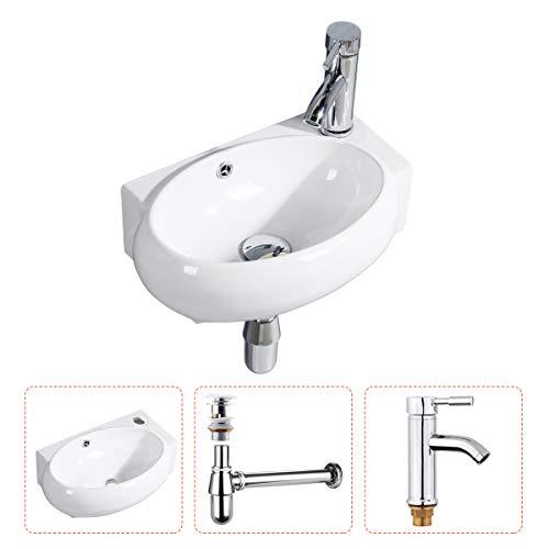 Handwaschbecken Klein, Gimify Mini Waschbecken WC zur Wandmontage aus Keramik Bad, mit Wasserhahn & Pop up Ventil Ablaufgarnitur