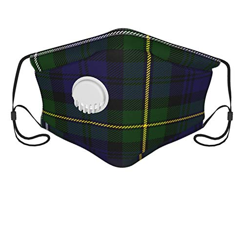 Scottish Plaid Green Black Blue Campbell Men's and Women's Mouth Face Mask Anti Breathable Filter Dust Absorb Sweat Washable Reusable Masks for Cycling Camping Ski Travel Outdoor