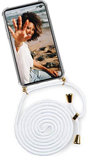 ONEFLOW® Handykette kompatibel mit Samsung Galaxy S10e - Handyhülle mit Band zum Umhängen Hülle Abnehmbar Smartphone Necklace - Hülle mit Kette, Weiß Gold