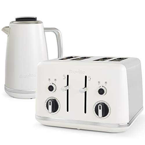 Breville Lustra Kettle and Toaster Set | 1.7 Litre Electric Kettle | 4 Slice Toaster with Wide Slots and Independent 2-Slice Controls | Matt White [VKT174 and VTT970]