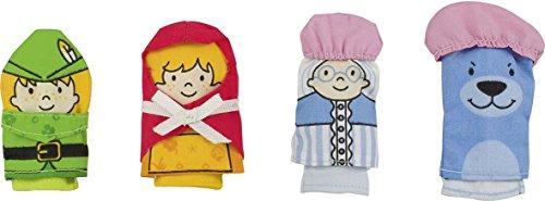 Goki - 51654 - Assortiment de Marionnettes à Doigt - Petit Chaperon Rouge - 4 Eléments