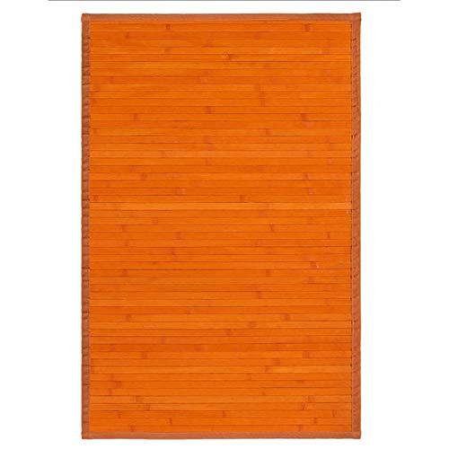 Alfombra de Salón o Comedor, Naranja, de Bambú Natural 60 X 90cm Natur, 60x90 - Hogar y Más