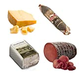 Caja de degustación Lombardía Salumi Pasini® | Formato económico | Bresaola della Valtellina IGP 1,6kg, Salchicha Campagnolo 270g, Manteca de cerdo con especias 300g y Grana Padano DOP 1Kg