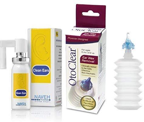 Oto Clear Ohrenschmalzspritze + Clean Ears Pumpspray 15ml Set - Ohrenschmalzentfernung, saubere Ohren, Ohrenreiniger, Ohrenreinigung