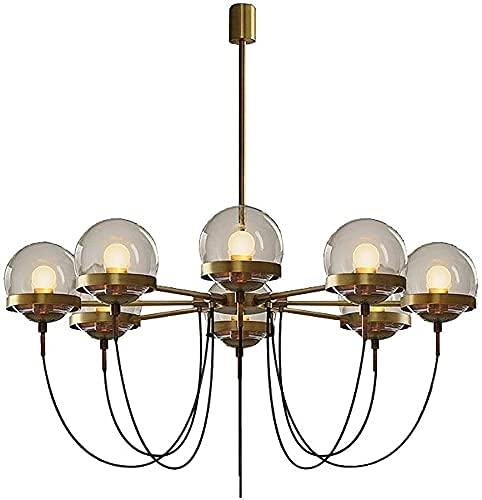 Lámpara de techo retro de cristal, 8 lámparas de techo, restaurante, dormitorio, sala de estar, decoración creativa, lámpara de araña [cuatro] bronce ocre seco 100 cm