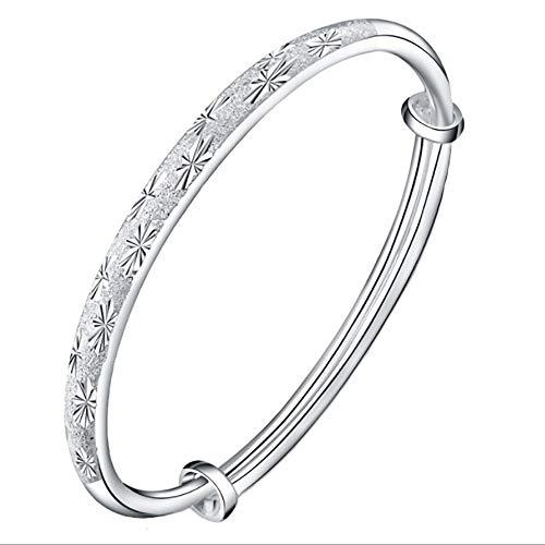 Sygjal 999 Sterling Silver Bracelets Baby Gift Round Push-pull Solid Children Bracelet Parent-child (Color : Silver, Size : 10g)