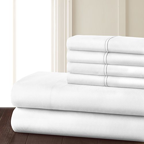Danjor Linens 4 Piece Hotel Luxury Soft 1800 Series Premium Bed Sheets Set, Deep Pockets, Hypoallergenic, Wrinkle & Fade Resistant Bedding Set(Twin, White)