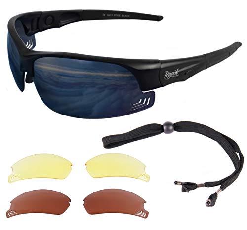 Rapid Eyewear Brille: 'Edge Black' SONNENBRILLE Für PILOTEN mit wechselgläsern. Entsprechen den Empfehlungen der Luftfahrtbehörde. Piloten Sonnenbrille für Damen und Herren