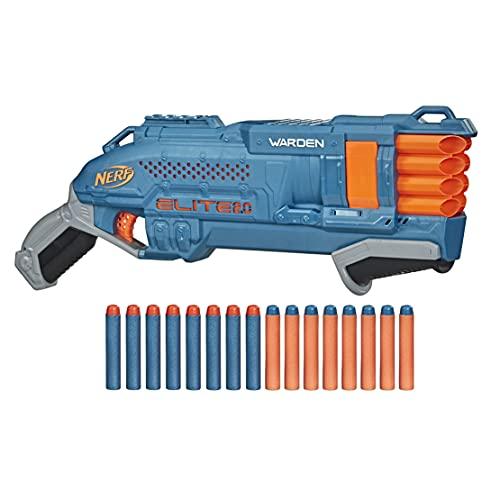 Nerf Elite 2.0 Warden DB-8 Blaster, 16 Dardos Nerf, 2 Dardos al Mismo Tiempo, riel táctico para Ajustar, Disparo rápido