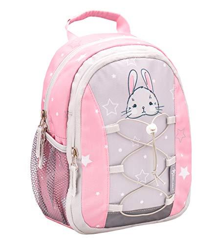 Belmil Kinderrucksack Mädchen für 1-3 Jährige - Super Leichte 260 g/Kindergarten/Krippenrucksack Kindergartentasche Kindertasche/Hase, Bunny/Rosa, Grau (305-9 Woodland Rabbit)