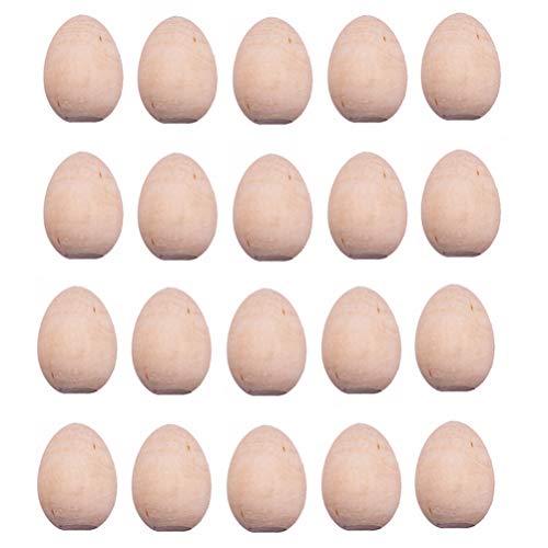 TOYANDONA 20 Unids Huevos de Madera Juguetes DIY Juego de Huevos de Pascua sin Pintar Huevo de Pascua Los Niños Juegan Juego de Cocina Juguetes de Comida Simulación Huevo Artesanía Huevos
