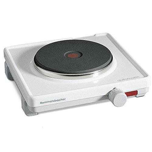 ROMMELSBACHER Automatik Einzelkochplatte AK 1580 - Gehäuse feueremailliert, weiß, Gussheizplatte 145 mm - 1500 Watt