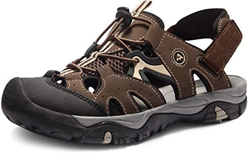 ATIKA Sandalias de senderismo para hombre con sistema de dedos cerrados, ligeras sandalias deportivas adecuadas para caminar, trailing, senderismo, zapatos de agua en verano, color Marrón, talla 46 EU