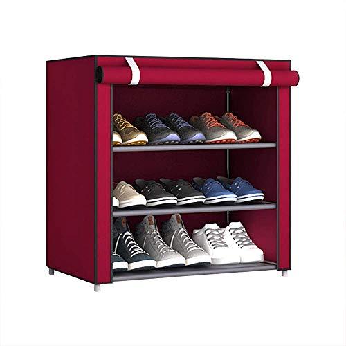 JHDDP3 Multi-Layer-kombinierter Schuh-Rack staubfestes Lagerschuhschrank Einfache Aufbewahrungsständer mit staubfestem Abdeckschrank Schuhe Lagerung (Color : Red, Size : 60 * 30 * 55 cm)