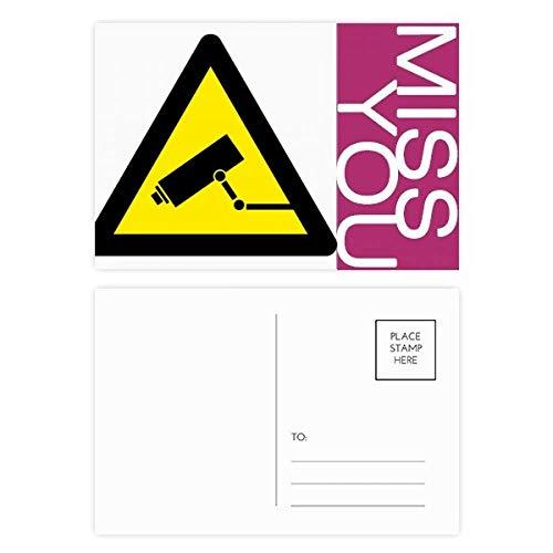 DIYthinker Warnsymbol Gelb Schwarz-Monitor-Kamera-Dreieck Fräulein Postkartenset dankt Karte Mailing Side 20pcs 5.7 Zoll x 3.8 Zoll Mehrfarbig