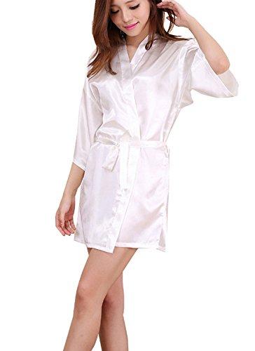 GGTFA Kimono Batas de Albornoz Novia y Dama de Honor Vestido de Fiesta de Boda Ropa de Dormir Blanco 2XL