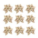 Toyvian 10 Peças de Flores de Poinsétia de Natal Vermelho Poinsétia Arbusto Flores Artificiais Grinalda de Flores Decorativas para Grinalda de Natal Enfeites de Ãrvore de Natal Dourados