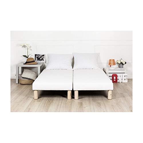 By sommiflex Sommier tapissier 2x80x200 (160x200) Fabrique en France Pieds
