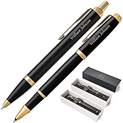 professional Parker IM Black Gold Color Ballpoint Pen Gift Set, Rollerball Pen Engraving / Personalization. Other …