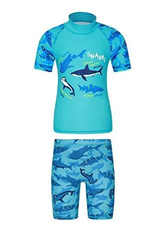 Mountain Warehouse Bedrucktes Kinder Bade-Set, UV-Schutz Shorts & Badeshirt, dehnbar, Rash Guard für Mädchen und Jungen Blau 128 (7-8 Jahre)