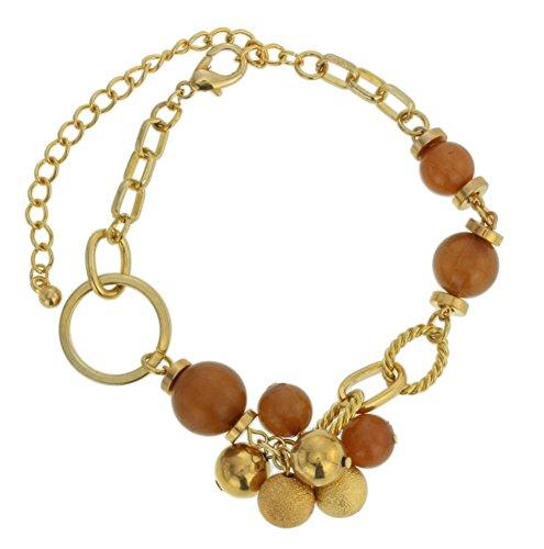 Bracciali a catena color oro - Bracciali metallici con perline di varie dimensioni in legno e metallo - Bracciali regolabili per donna
